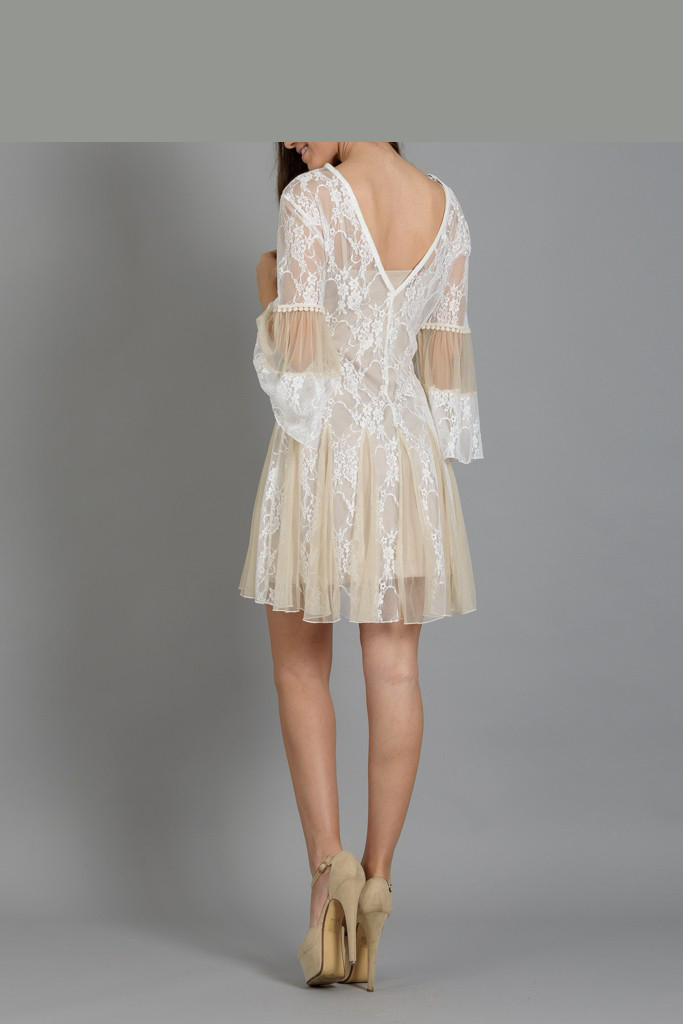 c53c25892b4 Φόρεμα mini από δαντέλα και τούλι   Primadonna.com.gr