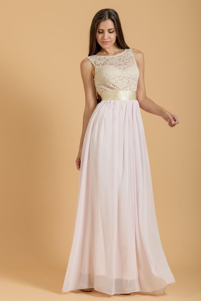 bf45274a0a3 Φόρεμα maxi με μουσελίνα και δαντέλα | Primadonna.com.gr