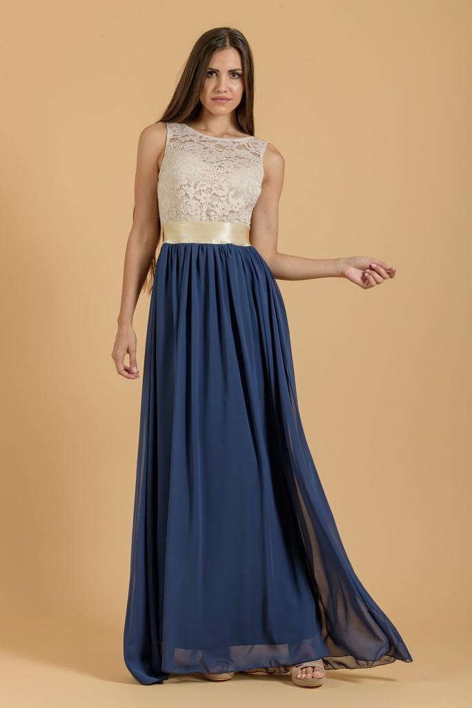 Φόρεμα maxi με μουσελίνα και δαντέλα  ec30480d4b2