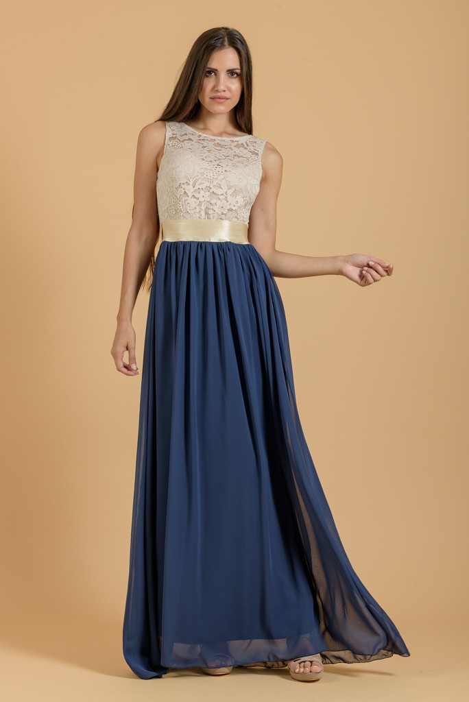 055c4540d35a Φόρεμα maxi με μουσελίνα και δαντέλα