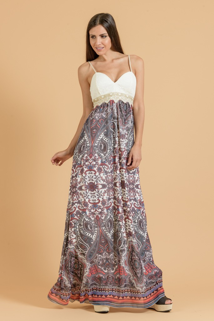1b47bb00ba8 Φόρεμα maxi εμπριμέ αέρινο | Primadonna.com.gr