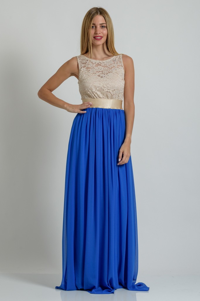 bcb6752cfb0 Φόρεμα maxi με μουσελίνα και δαντέλα | Primadonna.com.gr