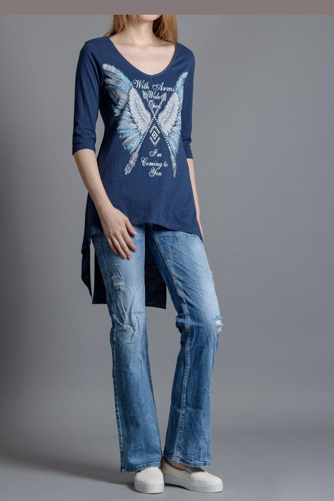 ece04e8cfd14 Φόρεμα μακριά ασύμμετρη τουνίκ. Μπλούζα μακριά με τύπωμα
