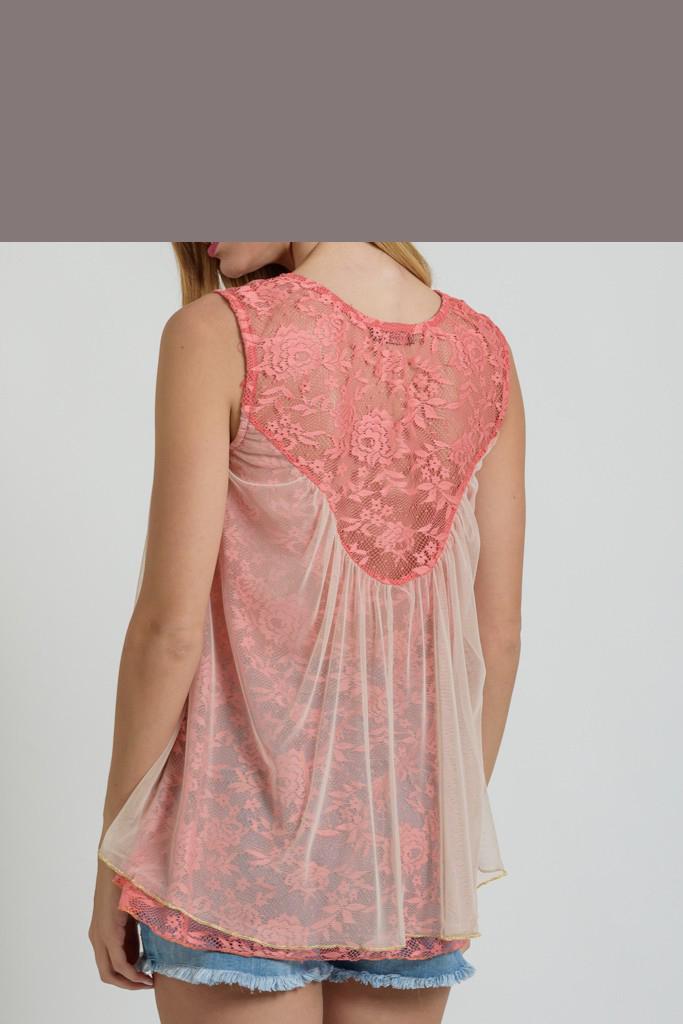 Γυναικεία μπλούζα από δαντέλα και τούλι  6f5e82947d8