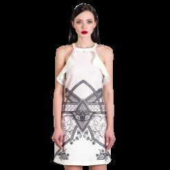 Αμάνικο mini φόρεμα με βολάν