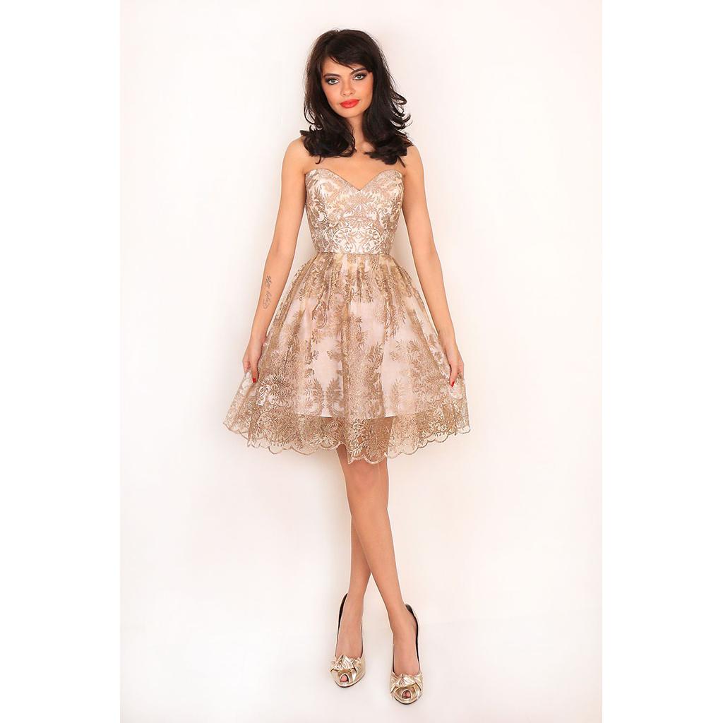 db699e3cdf66 Mini strapless φόρεμα με δαντέλα