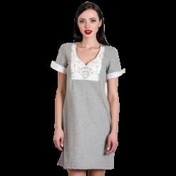 Mini φούτερ φόρεμα με δαντέλα στο μπούστο