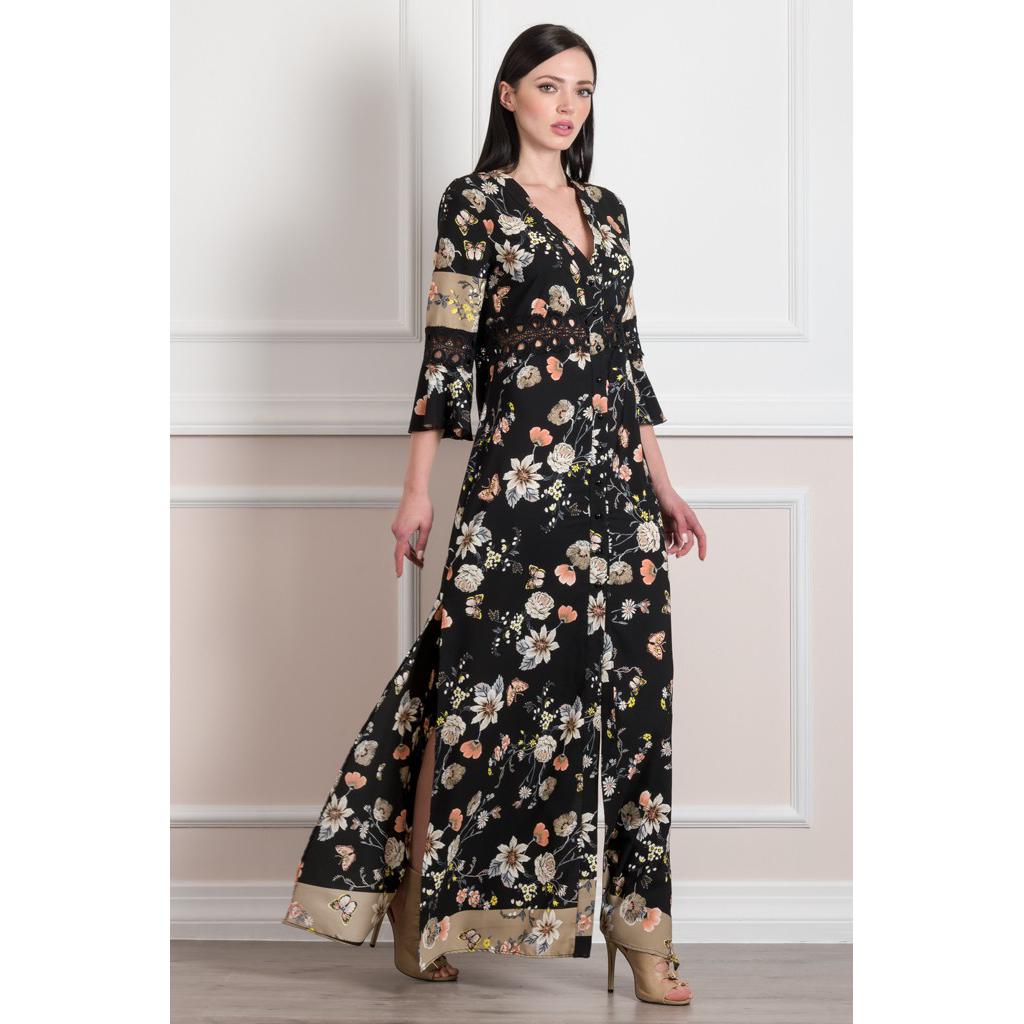 Maxi floral φόρεμα-πουκαμίσα με σκισίματα
