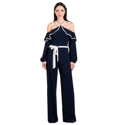 Ολόσωμη φόρμα με γυμνούς ώμους και ζώνη