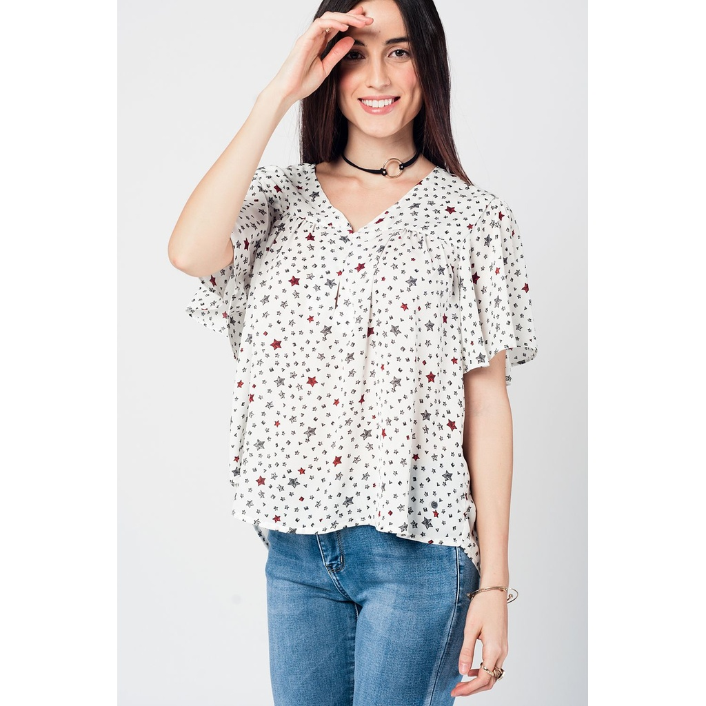 c67ee61925ac Γυναικεία σιφόν μπλούζα με στάμπες