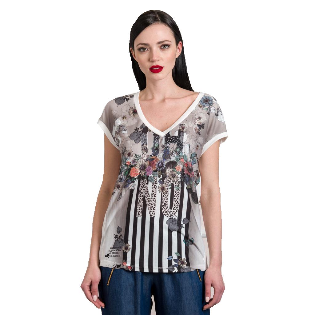Μπλούζα με τύπωμα και V λαιμόκοψη