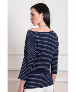 Casual striped top with letter print