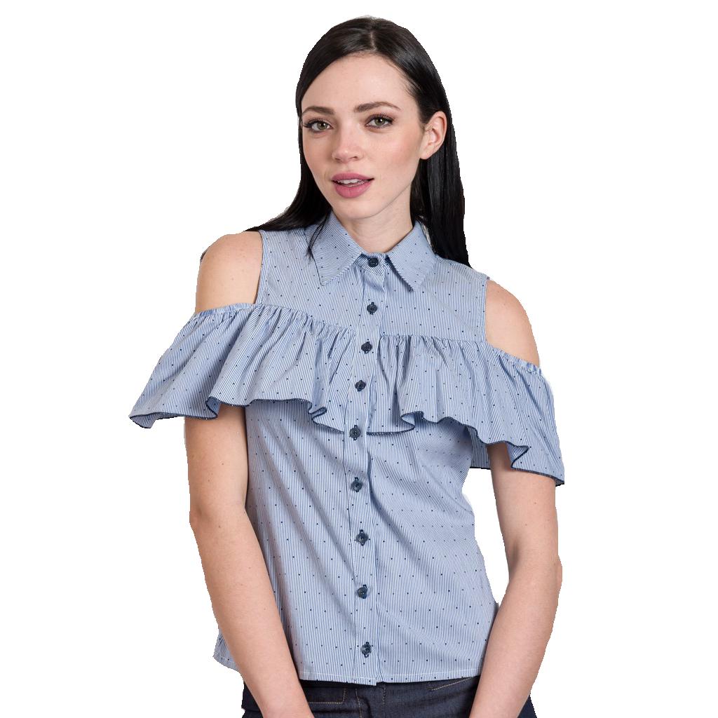 Bare shoulder shirt with delicate prints