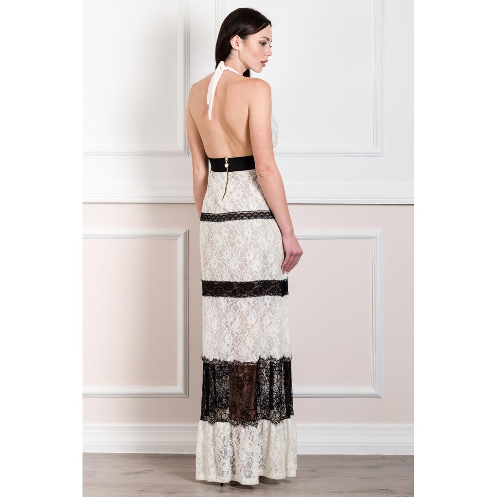 Maxi open back lace dress