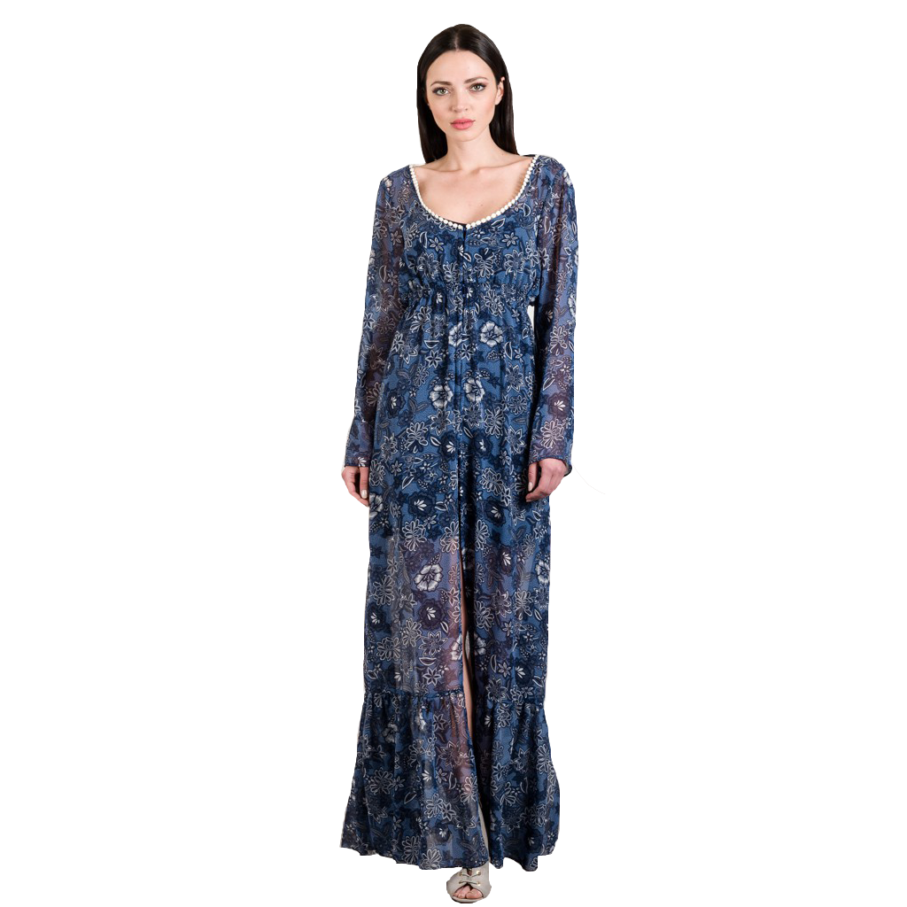 Maxi chiffon printed kaftan-dress