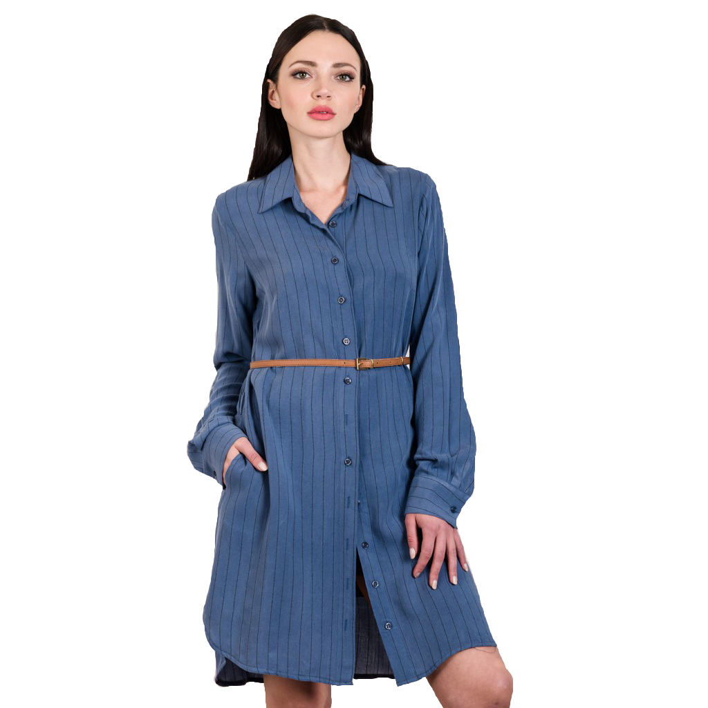 Longline shirt with delicate stripes