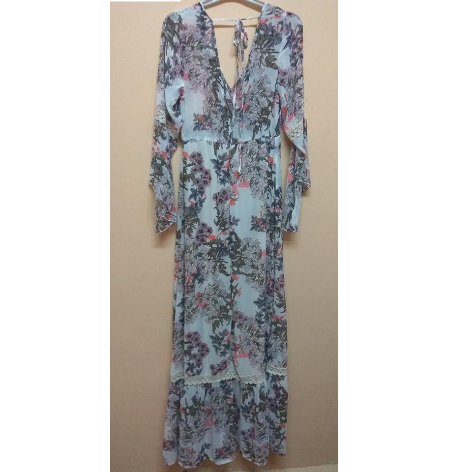 0b99bb8e1722 Maxi εμπριμέ φόρεμα με λάστιχο στην μέση