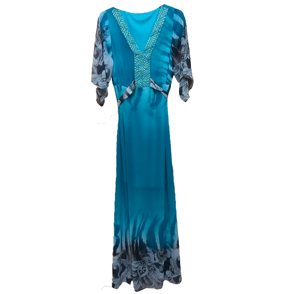 Maxi φόρεμα κοντομάνικο με κοντή φόδρα