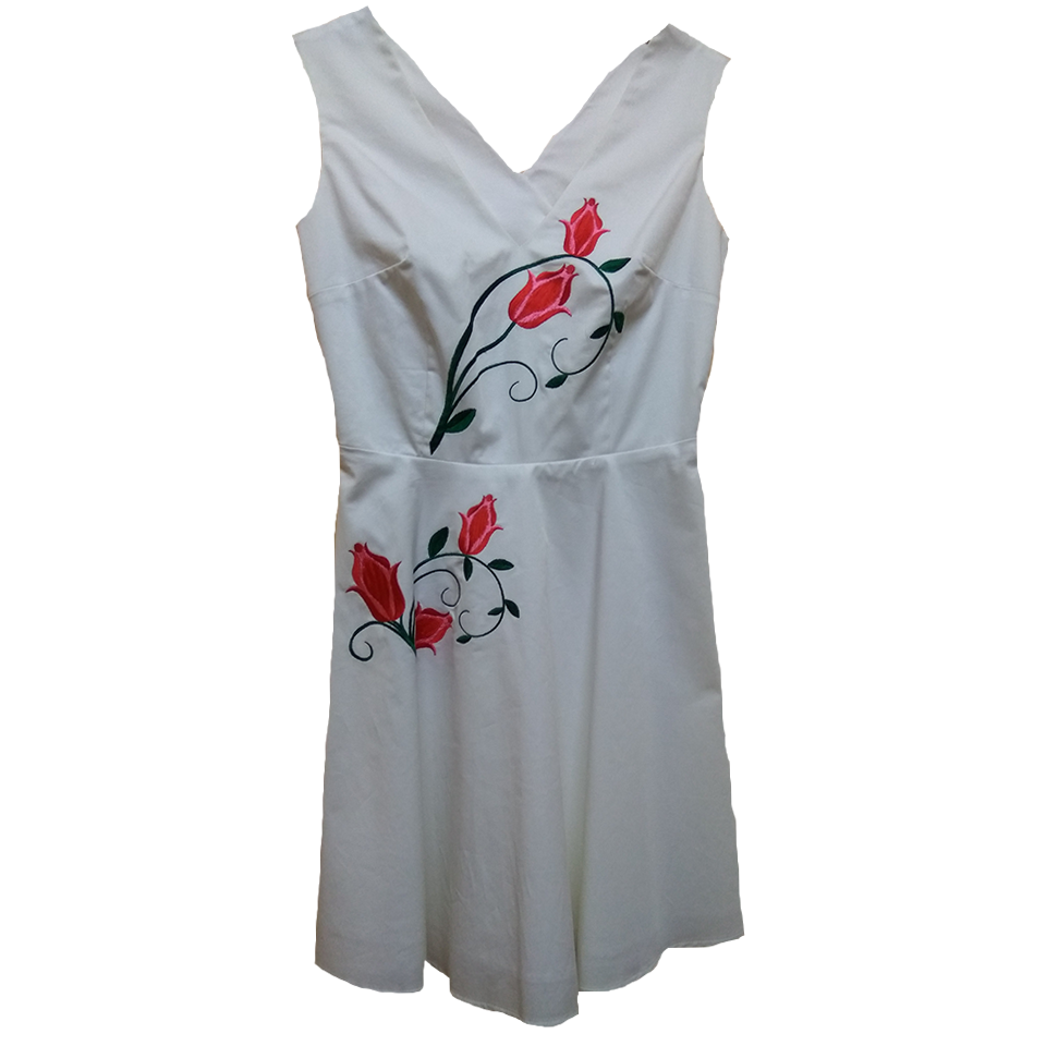 White casual dress with cross back