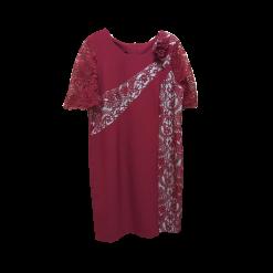 Κοντό φόρεμα κρεπ ελαστικό με δαντέλα