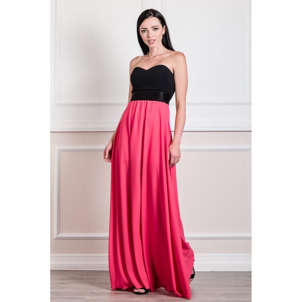 f6d45bb41cb Strapless maxi chiffon dress | Primadonna.com.gr