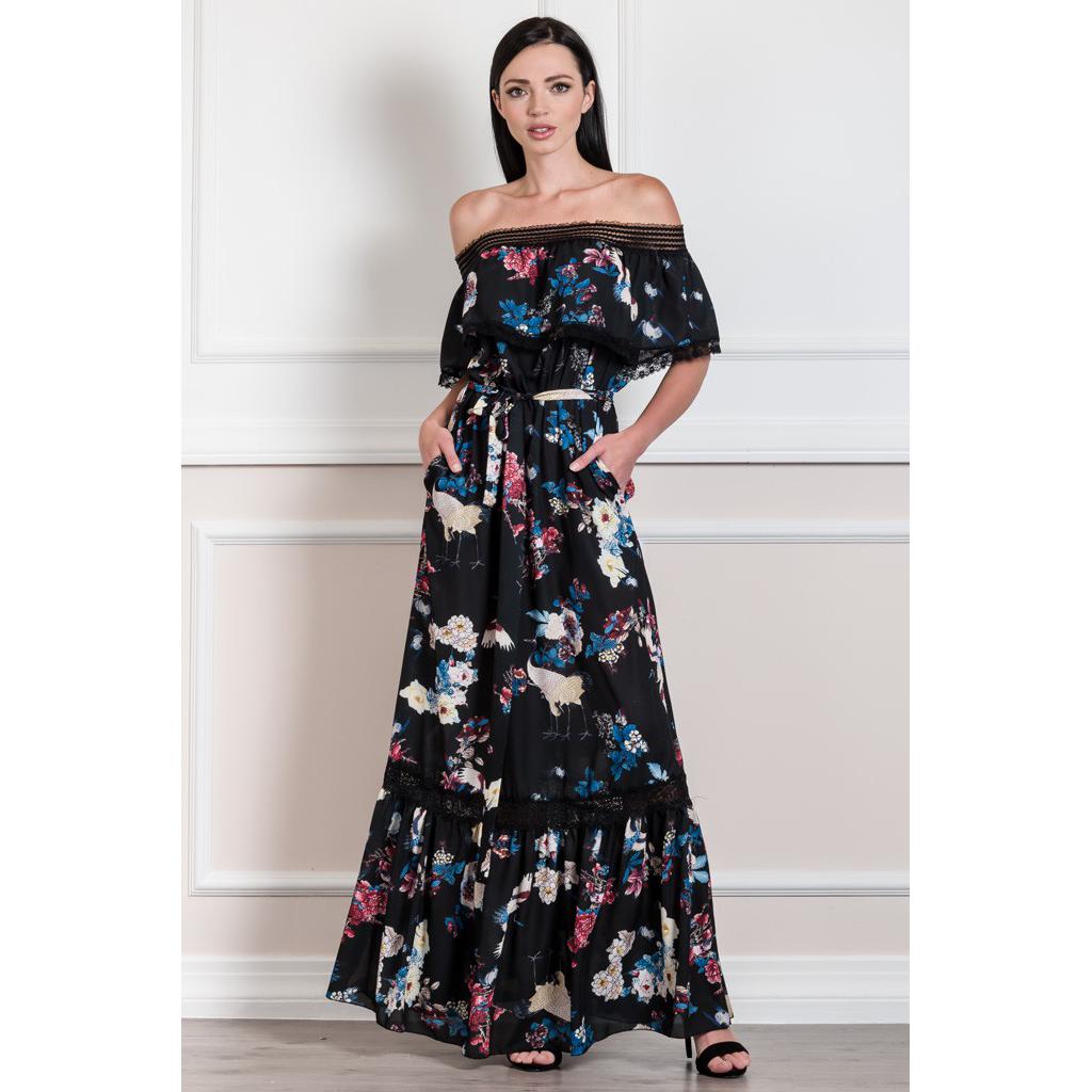 a4a80ce4845 Maxi φόρεμα με βολάν και γυμνούς ώμους | Primadonna.com.gr