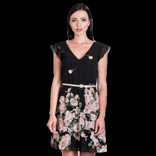 Mini φόρεμα floral με ζωνάκι