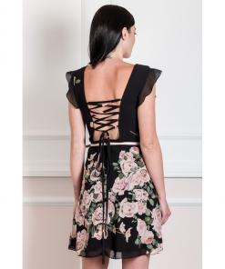 Mini open back chiffon dress