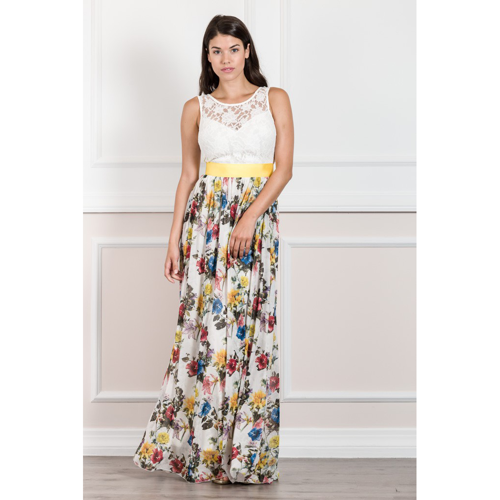 Maxi φόρεμα με μπούστο δαντέλα και floral φούστα  320b50b18ca