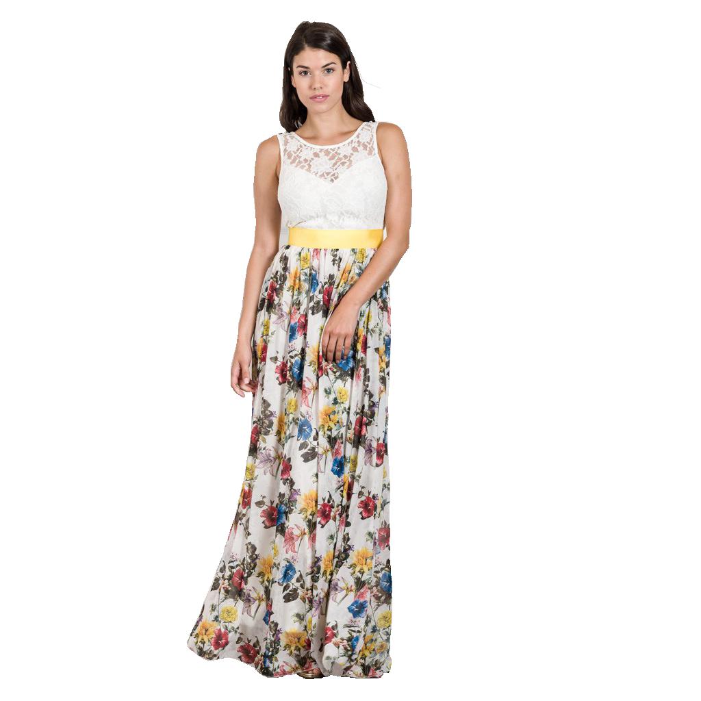 27f426881ba5 Maxi φόρεμα με μπούστο δαντέλα και floral φούστα