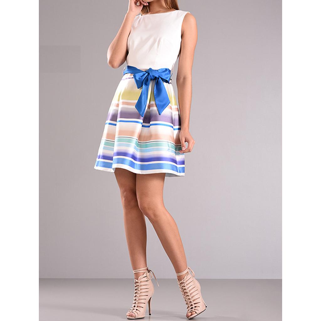 ce7ea0c6e01d Mini φόρεμα cocktail με μπλέ φιόγκο