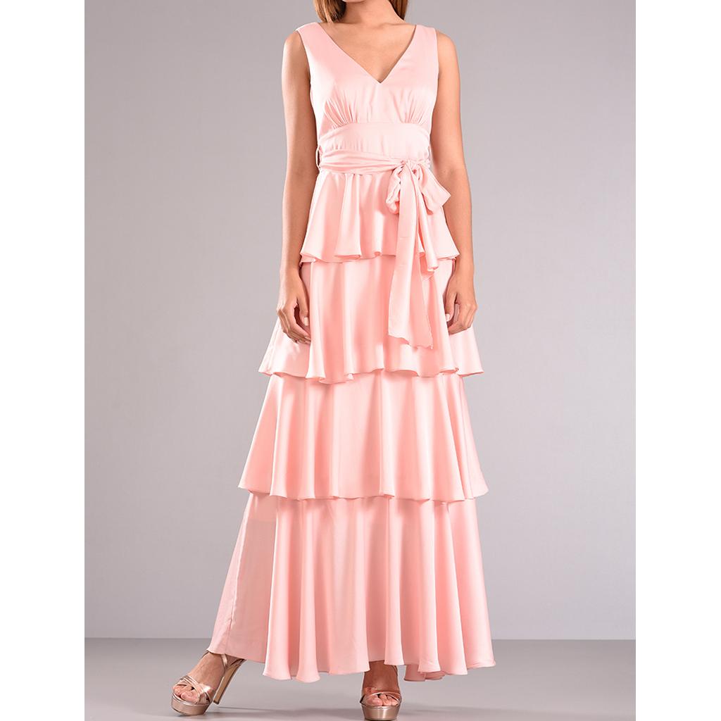 6785fd266c5 Maxi φόρεμα με βολάν και ζώνη