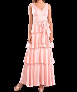 Maxi dress with velvet and belt