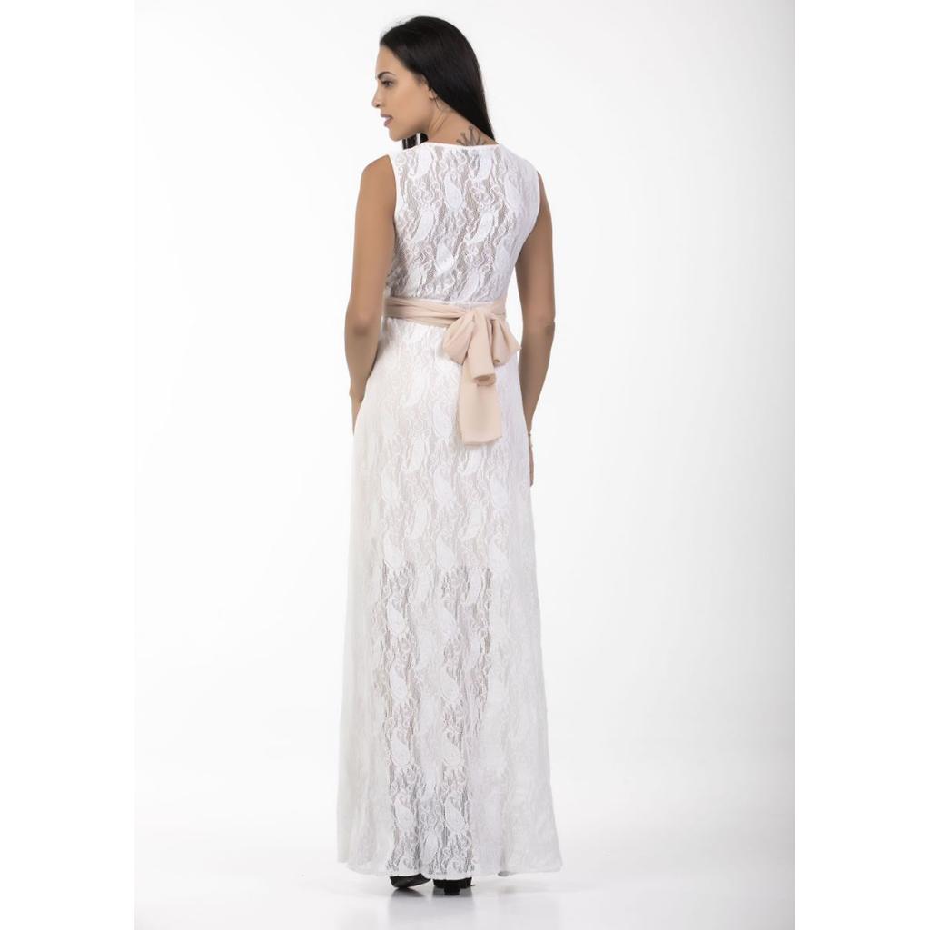 fc43130ede29 Maxi λευκό φόρεμα δαντέλα με άνοιγμα μπροστά | Primadonna.com.gr