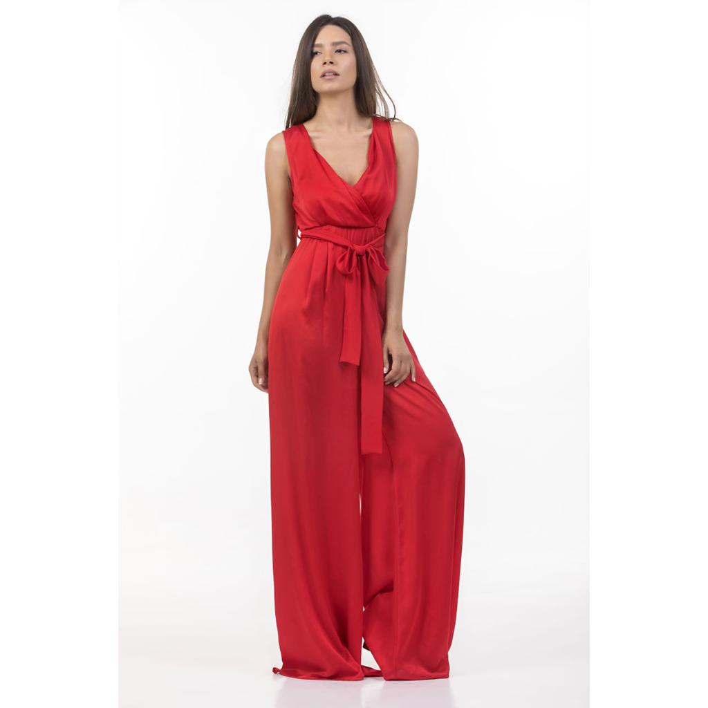 Ολόσωμη φόρμα σε φαρδιά γραμμή κόκκινη  743e0cdc412