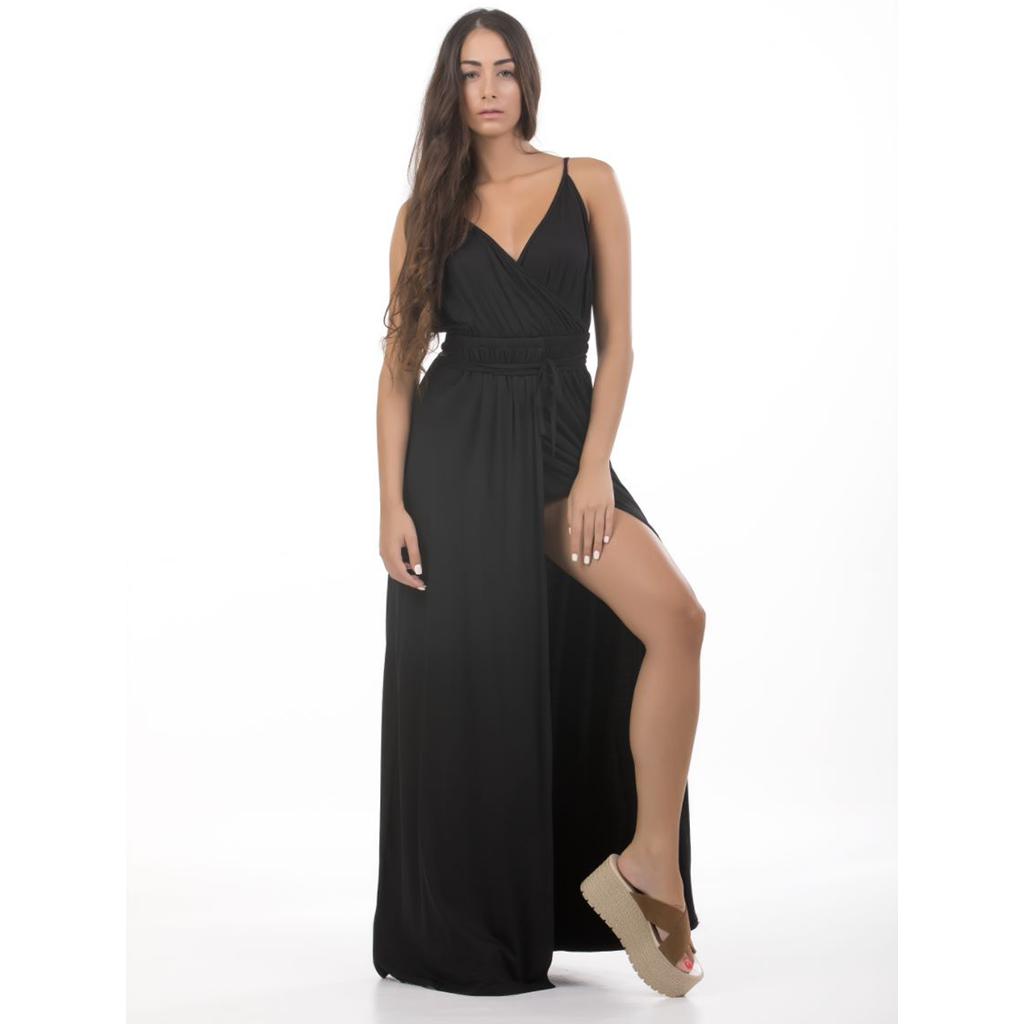 Μαύρο maxi φόρεμα με σκίσιμο  387e302b005