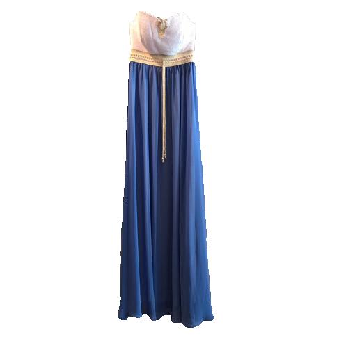 Strapless φόρεμα μουσελίνα με δαντέλα