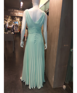 Maxi φόρεμα πλισέ με V μπροστά και πίσω