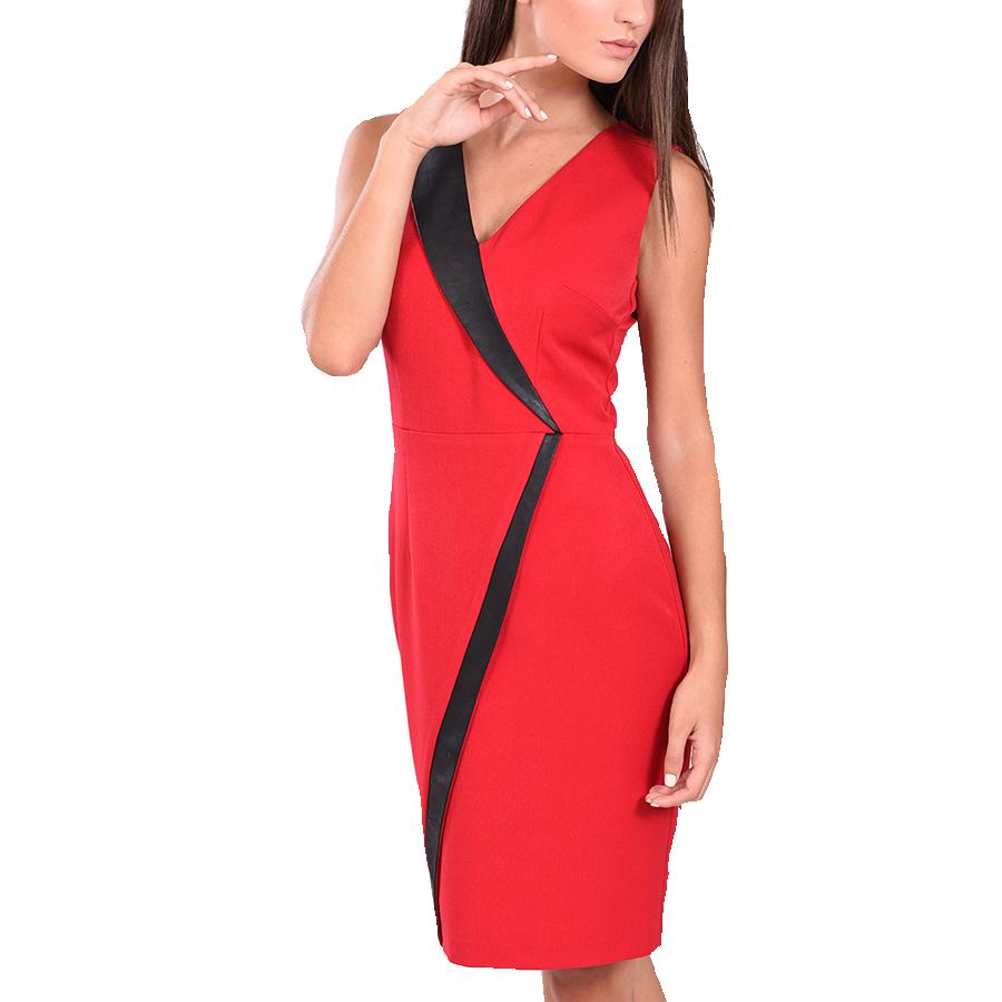 Φόρεμα κοντό αμάνικο με δερματίνη