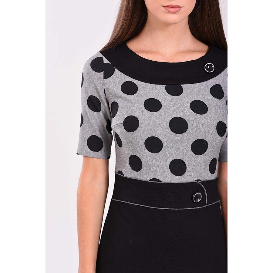Mini φόρεμα πουά με κοντά μανίκια