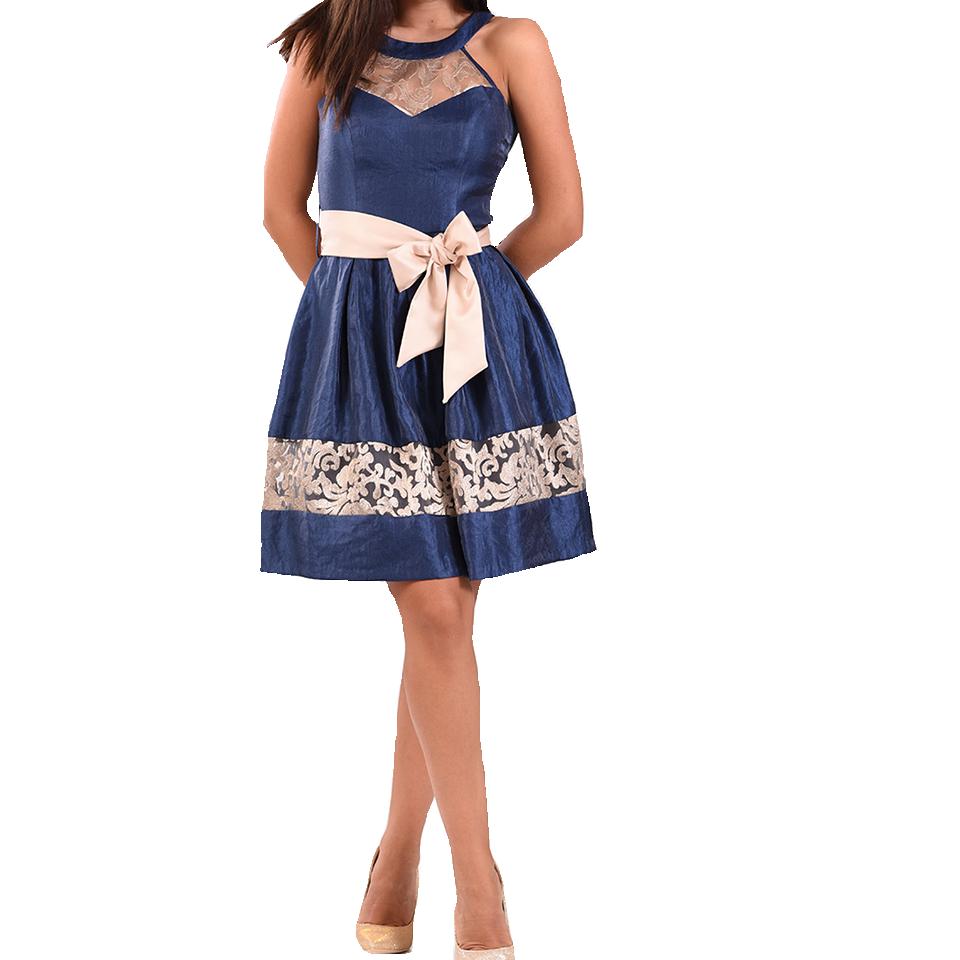 Mini φόρεμα σε Α γραμμή με χρυσές λεπτομέρειες
