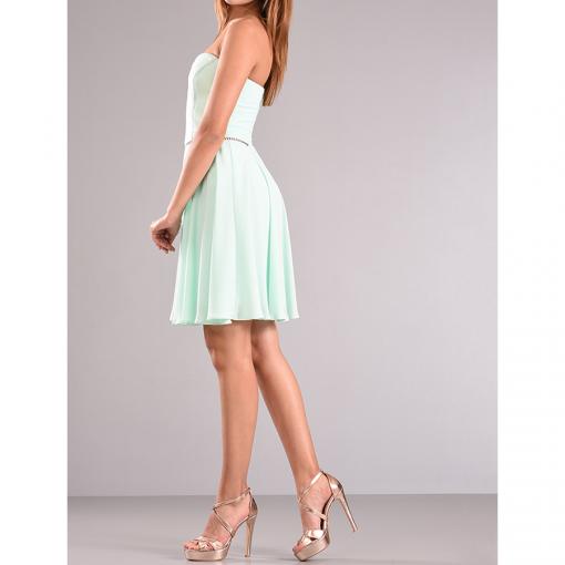 Mini φόρεμα strapless με διάτρητο σχέδιο