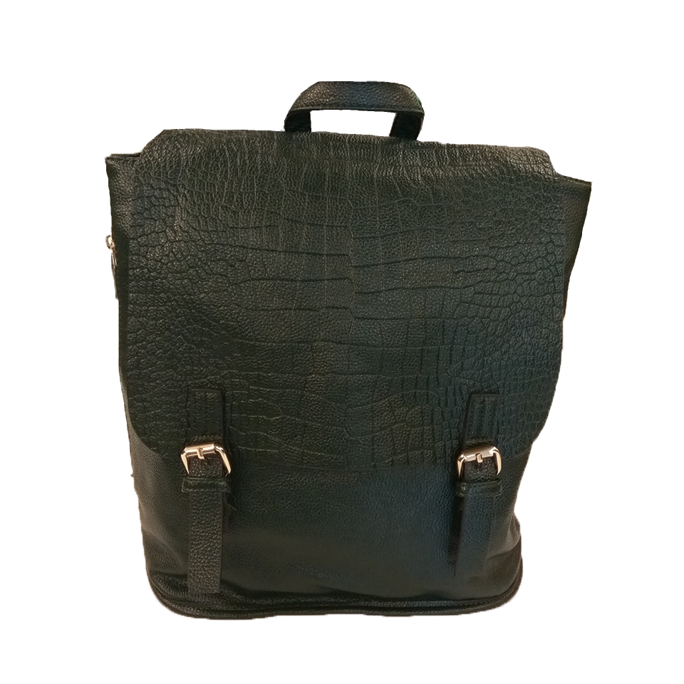 Women's backpack with double closing front
