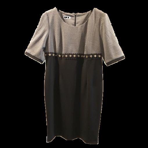 Κοντό δίχρωμο φόρεμα με strass και κέντημα