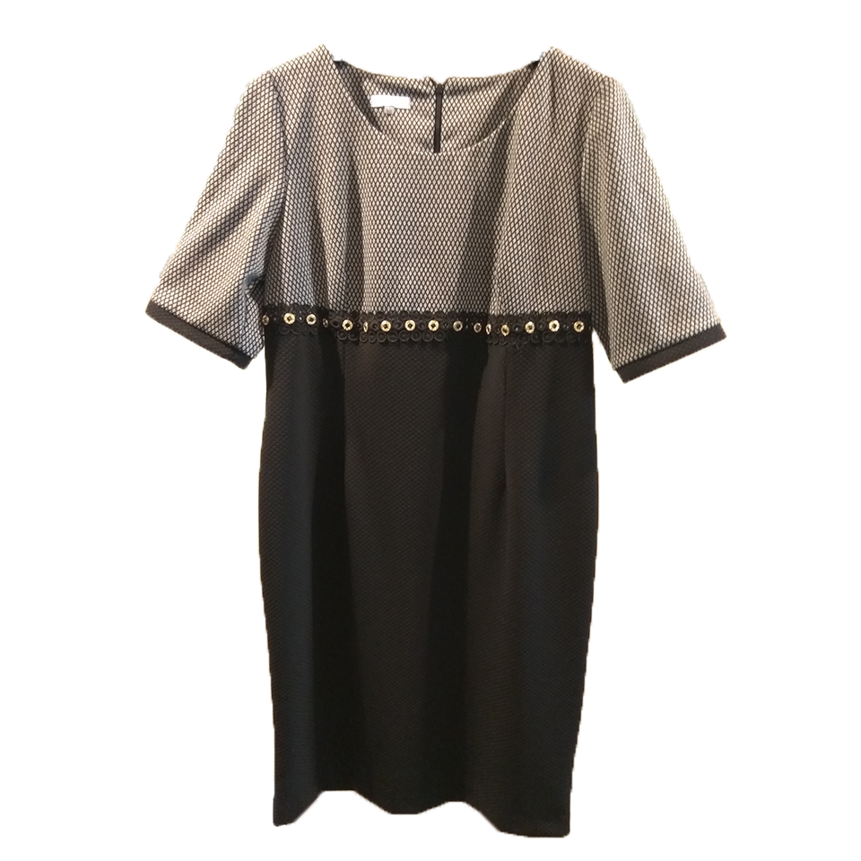 Short two-tone dress with strass and embroidery