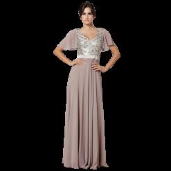 Μακρύ φόρεμα κοντομάνικο με παγιέτες