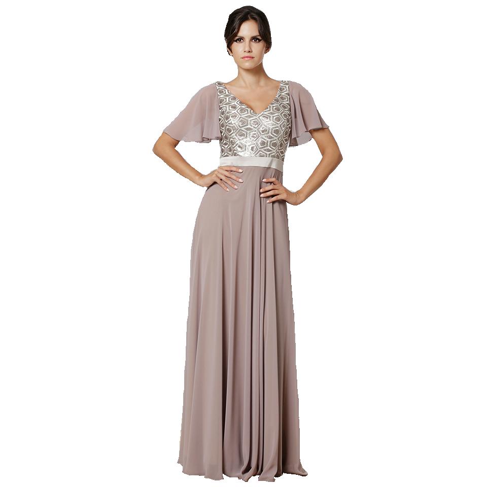 Maxi φόρεμα πλισέ με strass στο λαιμό. Μακρύ φόρεμα κοντομάνικο με παγιέτες 10d9c63c919