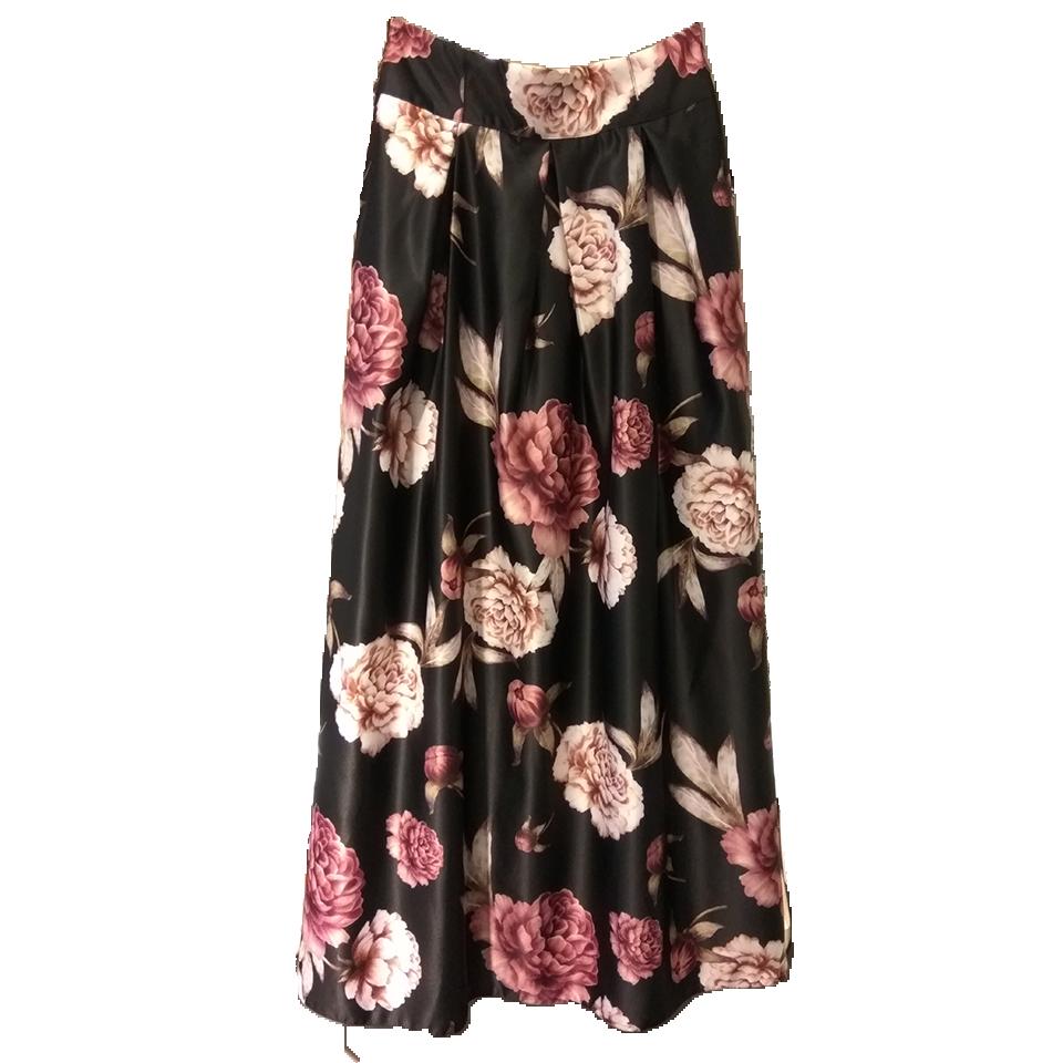 Maxi φούστα floral με κουφόπιετες