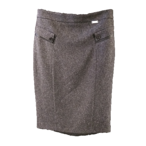 Pencil skirt with leather and decorative buttons