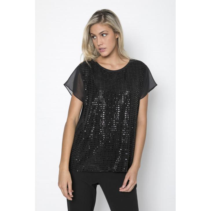 d5a25e28cc81 Γυναικεία μπλούζα με παγιέτες μπροστά